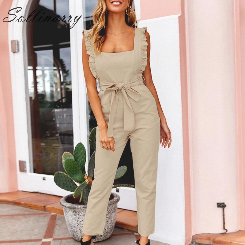 Sollinarry Ruffles Straghetti Strap Women   Jumpsuit   Rompers Beige Casual Sash Spring Autumn   Jumpsuits   Women Chic Rompers Bow Tie