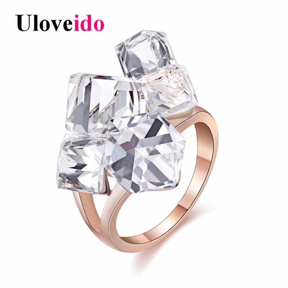 Antique Moda Crystal Chapado en plata Gran anillo de rubí Compromiso joyas Boda