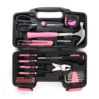 39Pieces Screwdrivers Wrenches Tapes Home Tool Kits Hammers Pliers Saws Chrome Vanadium Steel Lady Women Pink Tools