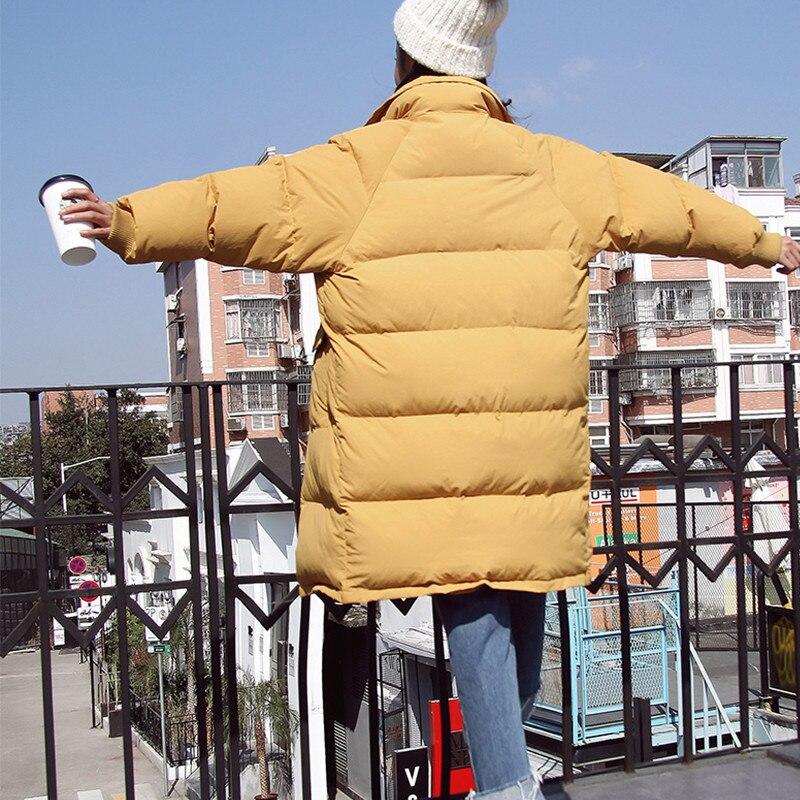 X362 ginger caramel Couleur De Hiver Veste Femmes Version Nouveau Lâche Casual Section Manteau Sauvage Longue Coréenne Coton Pain Black 2018 Solide Yellow HSn1tqwWTd
