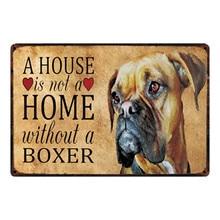 [Kelly66] cães boxer sinal de metal aviso estanho cartaz decoração para casa barra parede arte pintura 20*30 cm tamanho y-2109