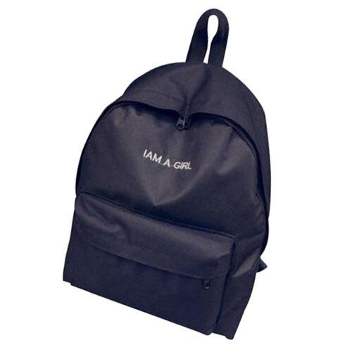 FGGS-Girls Women Canvas School Bag Travel Backpack Satchel Shoulder Bag Rucksack Black
