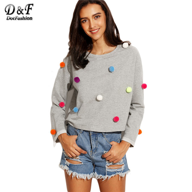 Dotfashion Heather Grey Drop Shoulder Pom Pom Detail Tops Women Long Sleeve Round Neck Cute Style T-shirt