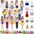15Pcs A Lot = 5x Outfit + 5x Shoes + 5x Bags Handbag Fashion Clothes For Barbie Doll Play House Kid Toys Gift Sets Free Shipping