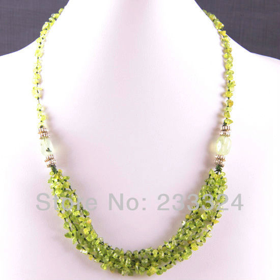 Free Shipping New without tags 5X8MM Natural Green Peridot Olivine Chip Beads Nylon Line Weave Necklace 22 1Pcs RE726