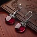 Authentic 925 de prata oscila brincos corindo vermelho primavera nova senhora especial Natural pedras semi-preciosas jóias