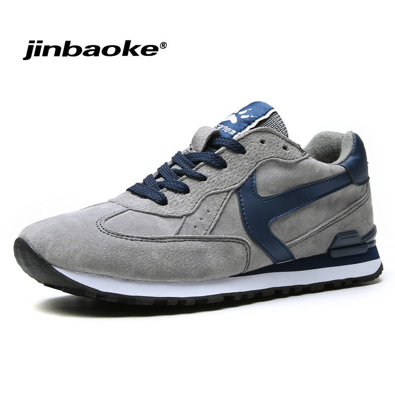 JINBAOKE Running Shoes For Men Genuine Leather Cow Shoes Man Sport Breathable Jogging Wa ...
