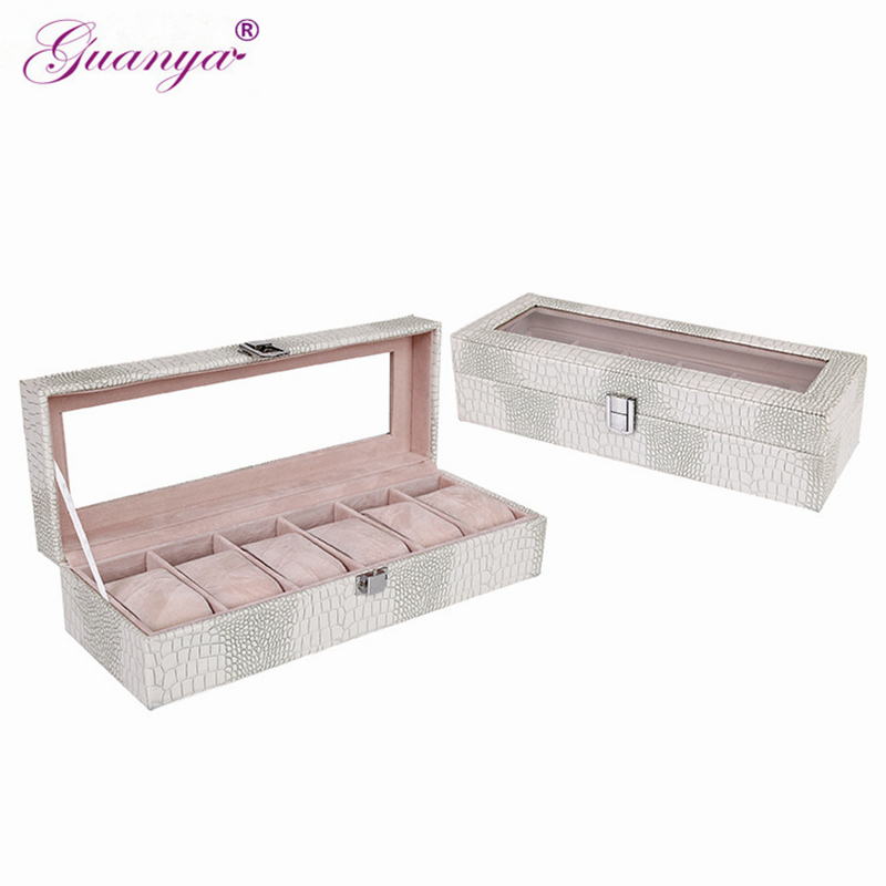 Guanya Top Quality 6 Grid Leather Watch Box Display Case Jewelry Bracelet Bangle Collection Storage Organizer Wristwatch Holder fashion wrist watch box jewelry bangle bracelet display storage holder organizer