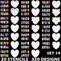 320 конструкций аэрограф ногтей трафарет в форме сердца шаблон комплект краска штамп инструмент штамповка плиты изображения маникюр пластины 20 лист(ов) / много