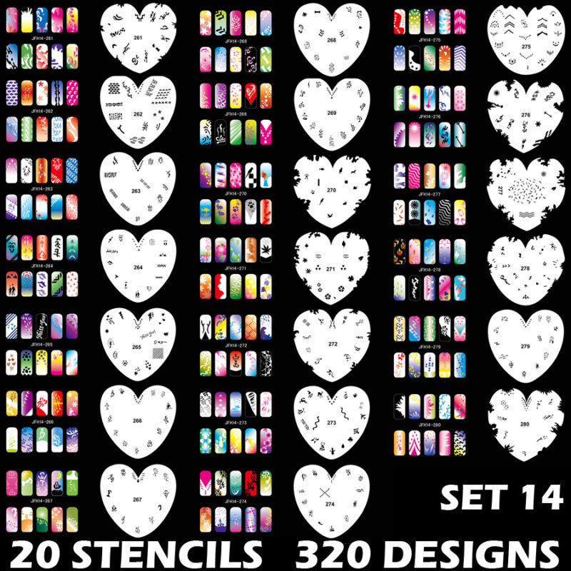 320 DESIGNS Airbrush Nail Art STENCIL Heart Template Kit Paint stamp ...