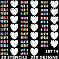 320 DESIGNS Airbrush Nail Art STENCIL Heart Template Kit Paint stamp tool stamping plate image manicure plates 20 Sheets /lot