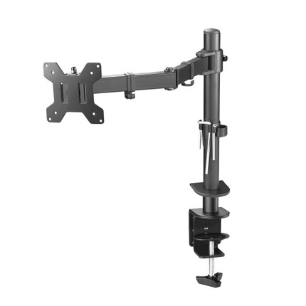 DL-M051 Full Motion Rotate Grommet Clamp Base Steel Single Monitor Desk Bracket Double Arm Desktop Support