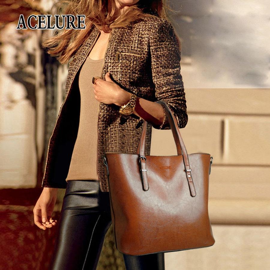 ACELURE Women Shoulder Bag Fashion Women Handbags Oil Wax Leather Large Capacity Tote Bag Casual Pu Leather women Messenger bag  5