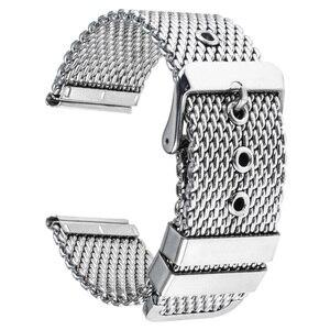 Image 3 - Bracelet de montre en acier inoxydable 20mm 22mm 24mm pour citoyen boucle ardillon sangle lien poignet ceinture Bracelet noir argent + barre de ressort + outil
