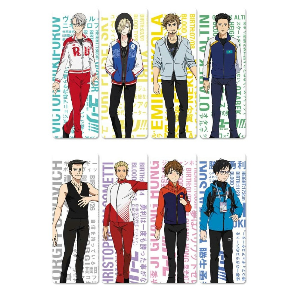 8pcs YURI!!! On ICE Anime Bookmarks Waterproof Transparent PVC Plastic Bookmark Book Marks Gift