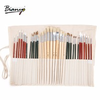Bianyo 36Pcs Different Size Paint Brush Set With Canvas Bag Professional Paint Brush for Oil Acrylic Watercolor Painting Supplie