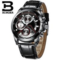 2018 Men Watches Luxury Top Brand BINGER Big Dial Designer Chronograph Water Resistant stainless quartz Wristwatches B 9016 7