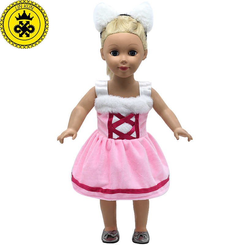 American Girl Doll Clothes Ears and Tail Catwoman Dress Cosplay Costume Doll Clothes for 16-18 inch Dolls 3 Colors MG-260 15 colors american girl doll dress 18 inch doll clothes and accessories dresses