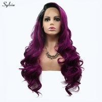 Sylvia Новый Темно-фиолетовый парик долго естественная волна Синтетические волосы высокое Температура Синтетический Frontal шнурка волос Искусс...
