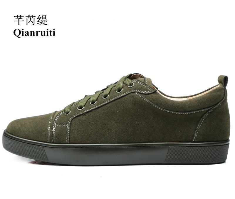 Printemps Chaussures à lacets en cuir suédé Hommes décontracté armée vert Sneaker bas haut Hommes Chaussures décontractées Hommes piste Chaussures Hommes