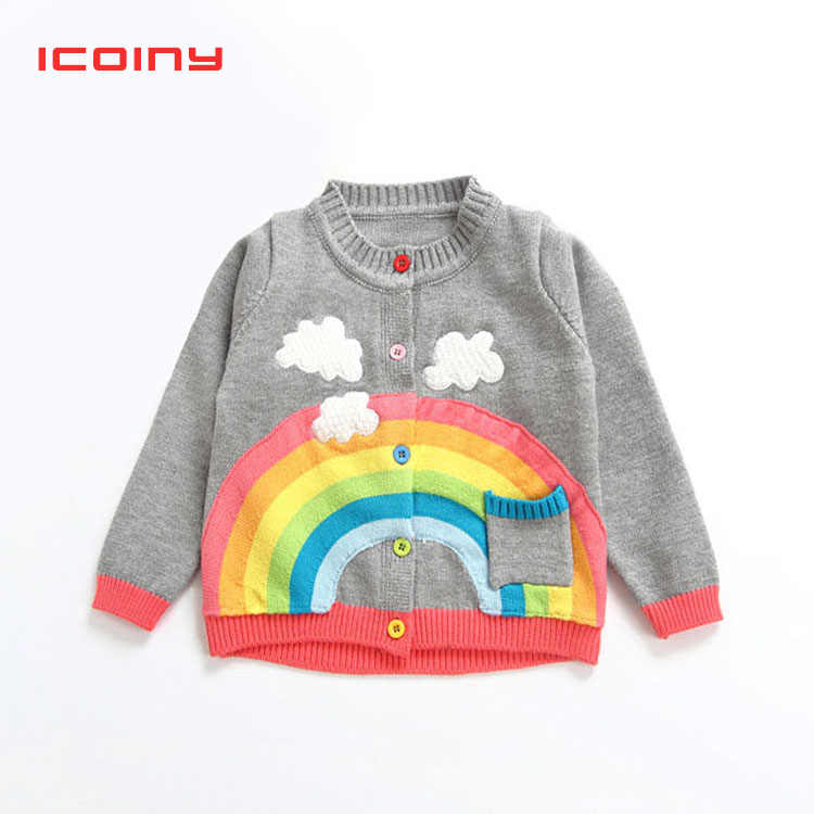 Boys Knit Sweater Spring Baby Girls Rainbow Clouds Sweater Kids Clothing Knitting Cardigan Long Sleeve Children Tops Jackets