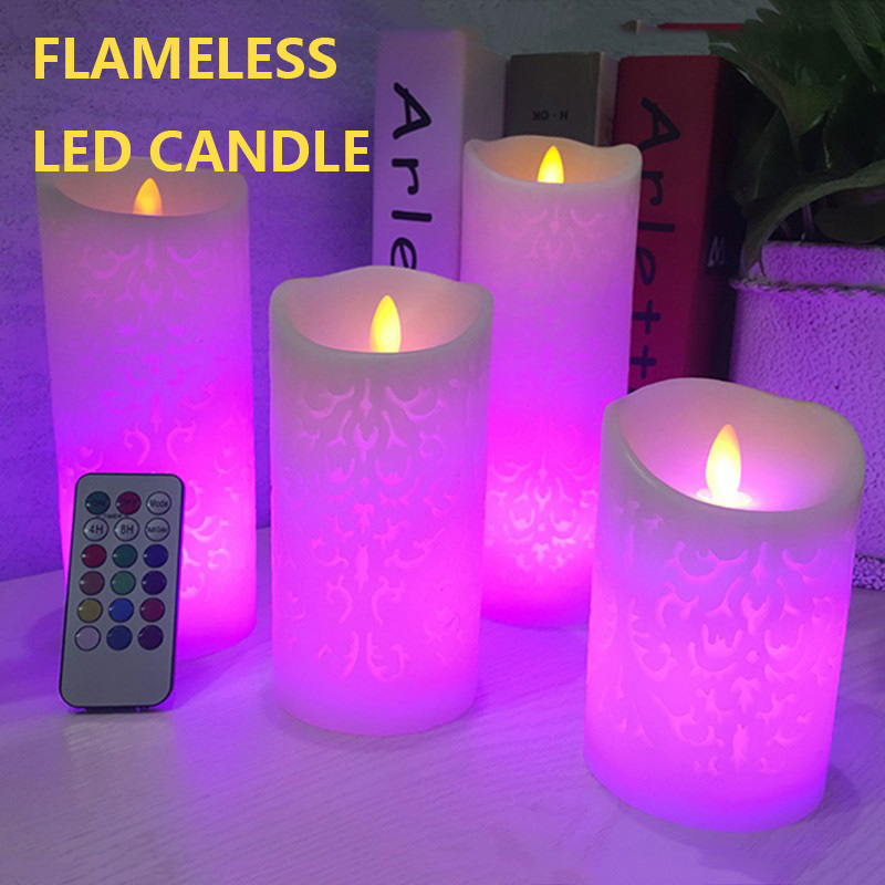 Flameless Electronic Candle Night Light LED Candle With RGB Remote Control Wax Pillar Candle For Home Party Wedding Decoration