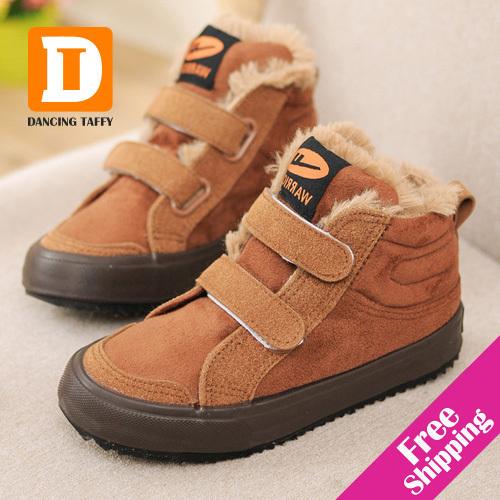 Marca Crianças de Algodão Quente Botas de Inverno de Couro Rebanho de Pelúcia Crianças sapatos de Camurça botas de Neve Meninos Meninas Sapatos 2017 De tênis de Borracha Crianças sapato
