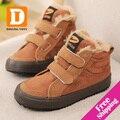 Marca de Algodón Caliente Niños Botas de Invierno Bandada de Cuero Niños de la Felpa zapatos de Gamuza botas de Nieve Niños Zapatos de Las Muchachas 2017 Niños de zapatillas De Goma zapato