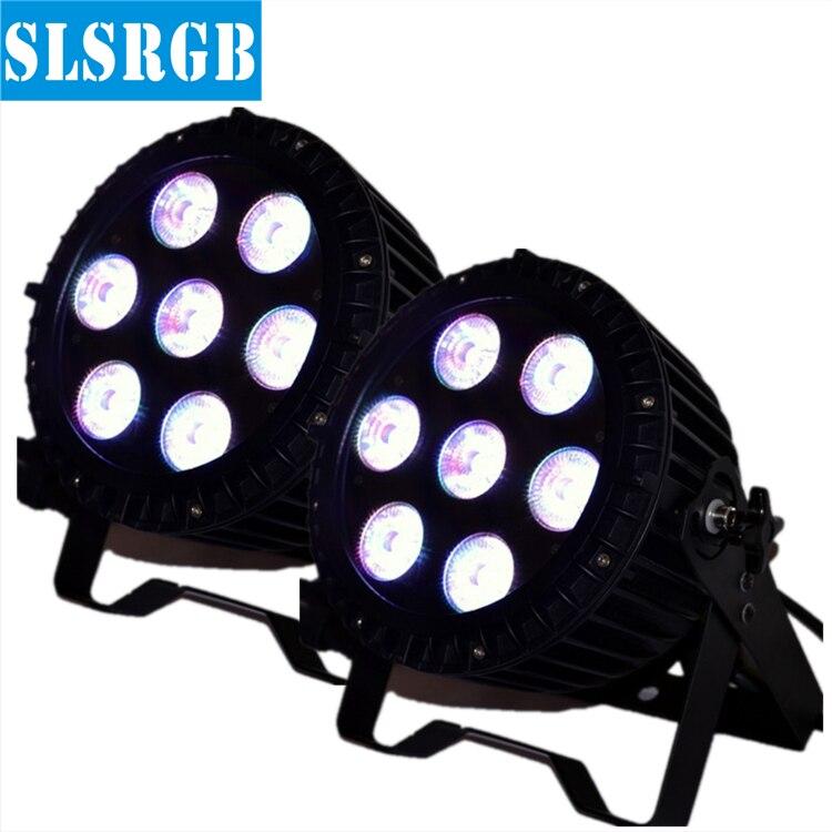 2pcs/lot No Flicker No Noise 7*18W 6in1 RGBWA +UV Led Par64 Light Waterproof IP65 Led Par Lights Stage Light 6/10 DMX Channel