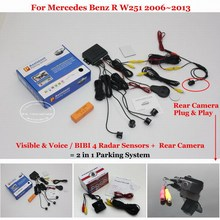 Liislee Car Parking Sensors + Rear View Back Up Camera = 2 in 1 Visual Alarm Parking System For Mercedes Benz R W251 2006~2013