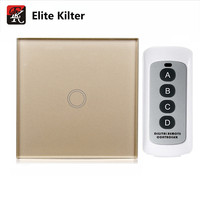 EU Standard Touch Switch Single Fire Wall Switch Golden Color Glass Panel Wall Light Remote Control