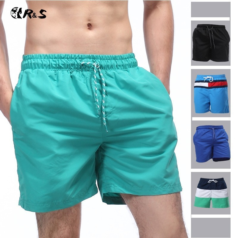 2018 New Men's Shorts For Beach In Loose Version With 100% Polyester Adjustable Waist Belt Pockets And Size S To 2XL