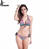 2016 Bandeau Swimwear Retro Tassel Bikini Set Classic Cut Bottom Bandage Swimsuits Push Up Brazilian Bikini