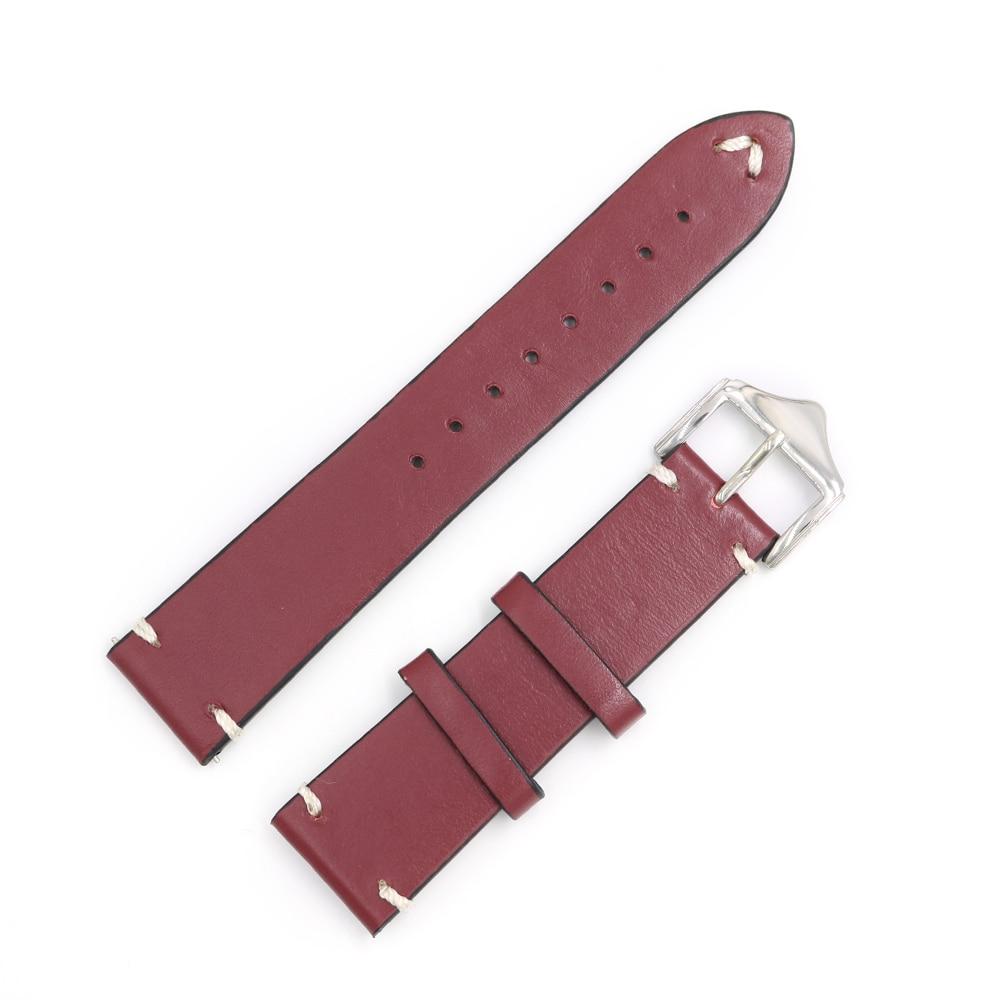 CARLYWET 20 22 24mm Mann Frauen Handgemachtes Leder Braun Schwarz Rot - Uhrenzubehör - Foto 3