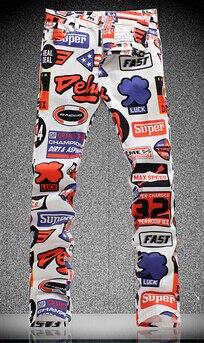 5116 5 De Réductionprintemps été Imprimer Jeans élastique Slim Mode Pantalons Décontractés De Couleur Dessin Fleur Pantalons Vêtements Pour Hommes