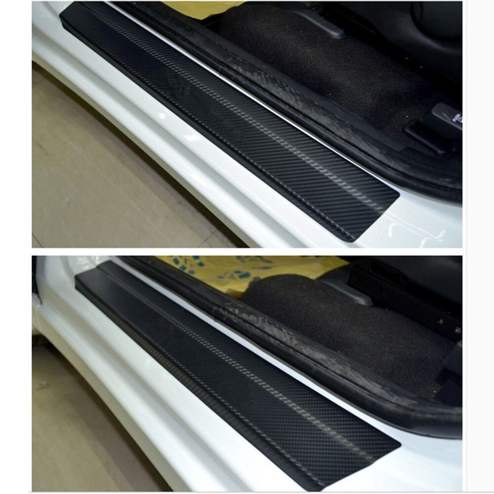 Carbon Fiber Vinyl Sticker Auto Door Protection Sill Scuff For VW MK4 Bora Golf 4 5 6 Passat Polo Bora Touran Car Styling