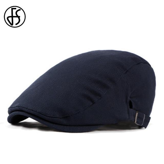 910488f5797 FS Flat Cap Men Summer 2018 Retro Cotton Beret Hat Dark Blue Gray For Women  Lady
