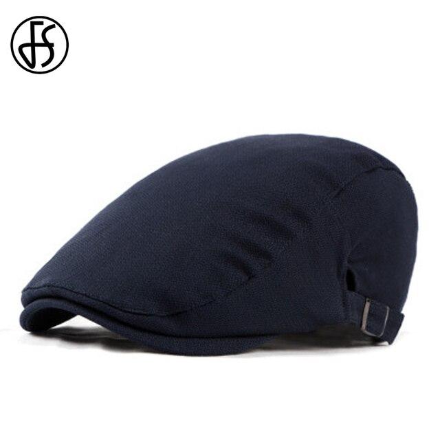 FS tapa plana hombres Verano de 2018 Retro de algodón sombrero de la boina  azul oscuro. Sitúa el cursor encima para ... cf5c93577d6