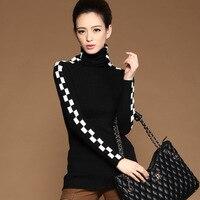 Women New Fashion Winter Coat Woollen Short Design Coat Long Sleeve Turtleneck Clothing Casual Knitwear Stylish Sweaters HZ242