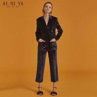 Новый двубортный фиолетовый Для женщин Бизнес Костюмы осень зима Мода Формальные женские офисные форма элегантные дамы Брюки для девочек к