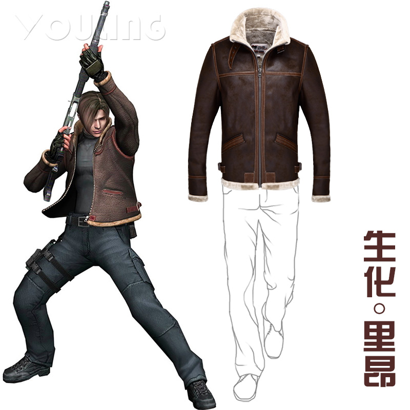 Biohazard Resident Evil 4 Leon S Kennedy Costume PU Faur Jacket Long sleeve Winter Outerwear Coat Leather Coat Jacket Cosplay