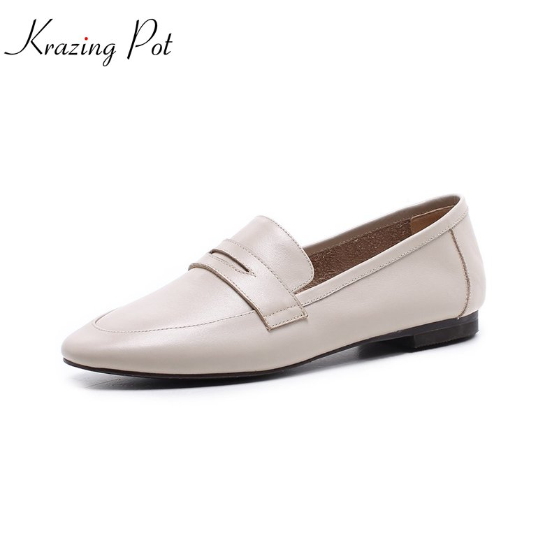 krazing Pot 2018 genuine leather Spring women pumps solid round toe slip on low heel concise style office lady work shoes L25 2017 shoes women med heels tassel slip on women pumps solid round toe high quality loafers preppy style lady casual shoes 17