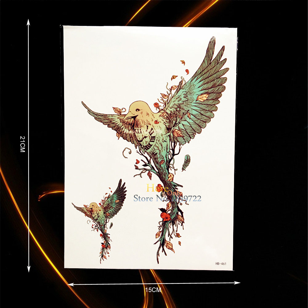 1PC Flying Birds Root Branch Design Waterproof Tattoo Body Art Tempoary Tattoo Sticker Removable Arm Tatoo Chest Leg Decals B461