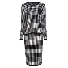 Women Wool Knitwear Two-Piece Sets Autumn New Temperament Sweater Skirt Spring Houndstooth High Quality Knitted Lj168
