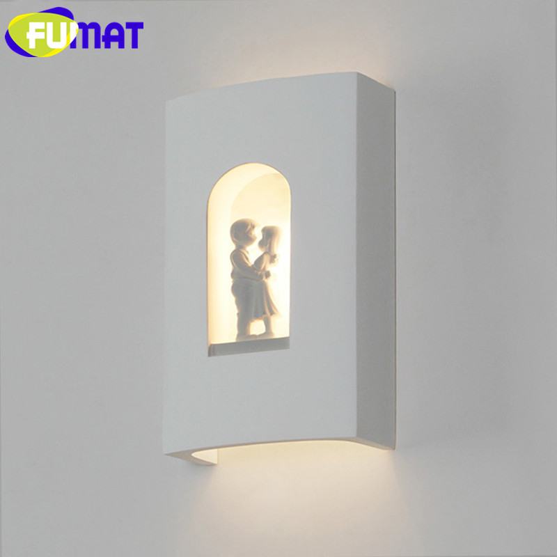 Nordic Simple Wall Light Bedroom Bedside Wall Lamps Modern Creative Children Room Plaster Lovers Wall Sconce