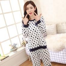 New Fashion Women Pajamas Autumn Full Sleeve Pijama Round Neck Polka Dot Long Pants Sleepwear Female