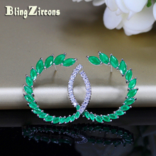 BlingZircons Brand Classic Sterling Silver Jewelry Green Cubic Zircon Stone Large 925 Post Stud Earrings For Fashion Women E093