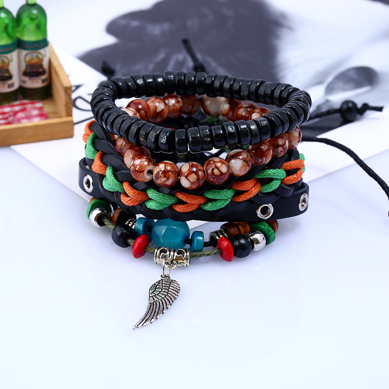 Vintage Leather Handmade Bracelets for Women Charms Multilayer Men Bracelet Male Braslet Rainbow Stone Jewelry Gifts