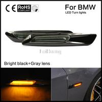 Free Shipping A Pair Black Trim LED Fender Side Marker Light Turn Signal Lamp For BMW