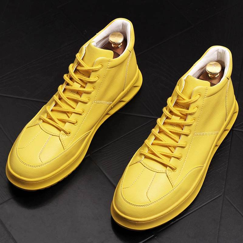 ERRFC New Arrival Men Autumn high top Casual shoes yellow trending thick bottom man White hip